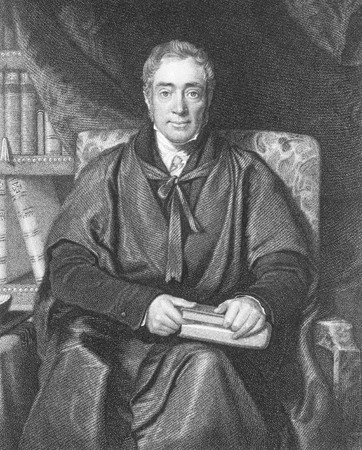 linguist: Samuel Lee (1783-1852) on engraving from the 1800s. English professor at Cambridge, orientalist first of Arabic and then of Hebrew language. Engraved by W.T.Fry after a painting by R.Ewans and published by Fisher, Son & Co, London in 1846.