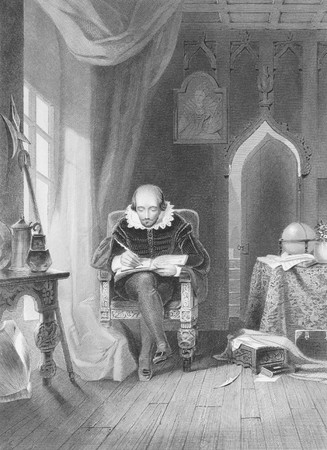 William Shakespeare (1564-1616) on engraving from the 1800s. English poet and playwright, widely regarded as the greatest writer in the English language. Engraved by A.H.Payne and published in London by Brain & Payne, 12, Paternoster Row. Stock Photo - 8511726