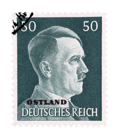 Adolf Hitler on German stamp from 1942 isolated in white