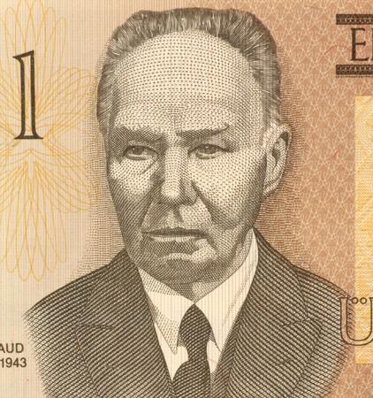 unc: Kristjan Raud (1865-1943) on 1 Kroon 1992 Banknote from Estonia. Estonian painter and draughtsman. Stock Photo