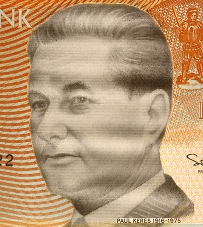 unc: Paul Keres (1916-1975) on 5 Krooni 1994 Banknote from Estonia. Estonian chess grandmaster. Stock Photo