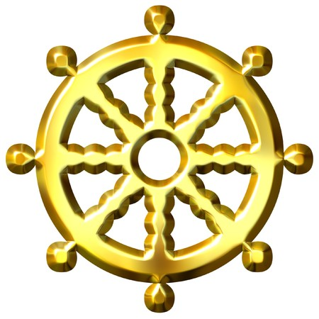 shakti: 3d golden Buddhism symbol Wheel of Dharma isolated in white. Represents Buddhas teaching of the path to enlightenment,