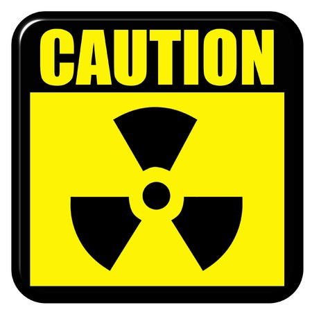 3d caution radioactive sign  photo