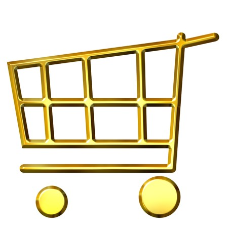 3d golden shopping cart  photo