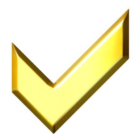 3d golden tick sign  Stock Photo - 7296591