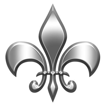 fleur: 3d silver fleur de lis