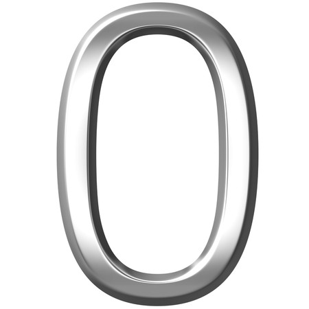 3d silver number 0  Stock Photo