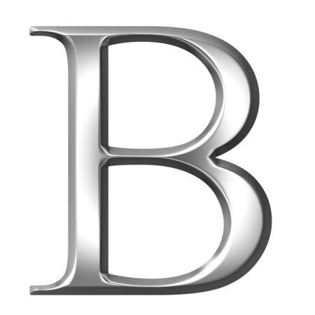 alphabet greek symbols: 3d silver Greek letter Beta