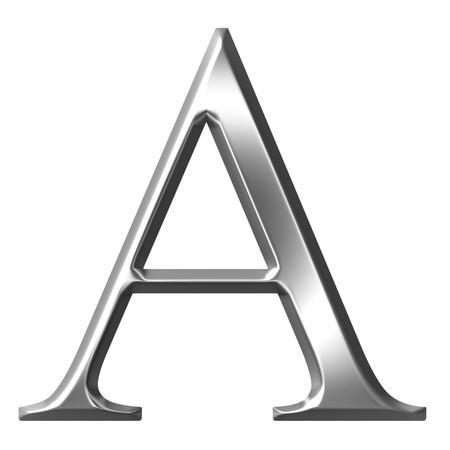 alphabet greek symbols: 3d silver Greek letter Alpha  Stock Photo