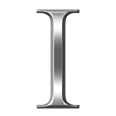 3d silver Greel letter Iota  Stock Photo