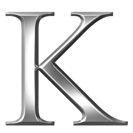 alphabet greek symbols: 3d silver Greek letter Kappa