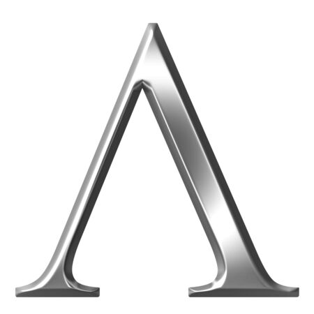 alphabet greek symbols: 3d silver Greek letter Lambda Stock Photo
