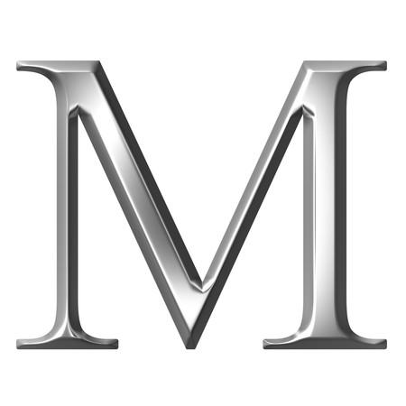 alphabet greek symbols: 3d silver Greek letter My
