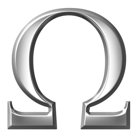alphabet greek symbols: 3d silver Greek letter Omega  Stock Photo