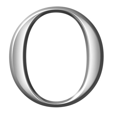 3d silver Greek letter Omikron  photo