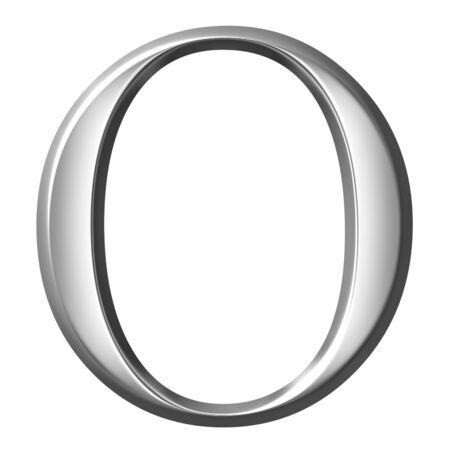 greek alphabet: 3d silver Greek letter Omikron