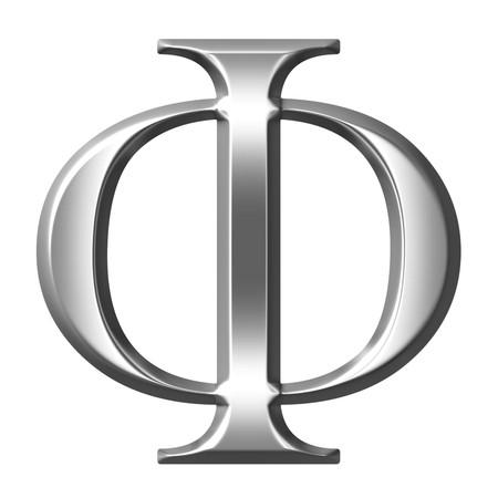 alphabet greek: 3d silver Greek letter Phi