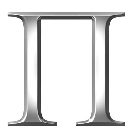 alphabet greek: 3d silver Greek letter Pi