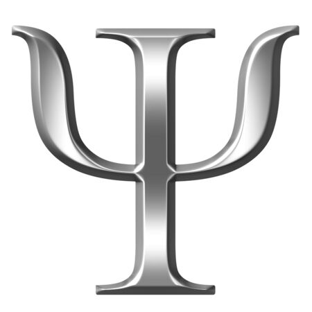 historical reflections: 3d silver Greek letter Psi  Stock Photo