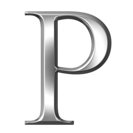 alphabet greek symbols: 3d silver Greek letter Rho