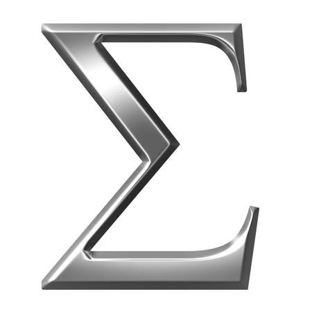 alphabet greek symbols: 3d silver Greek letter Sigma