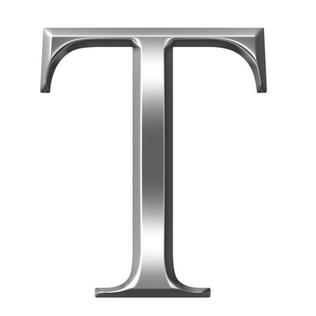 alphabet greek: 3d silver Greek letter Tau