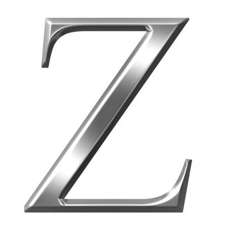 alphabet greek symbols: 3d silver Greek letter Zeta
