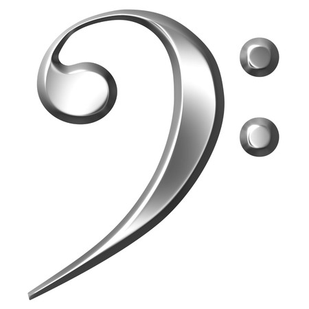 clave de fa: 3D plata Bass Clef