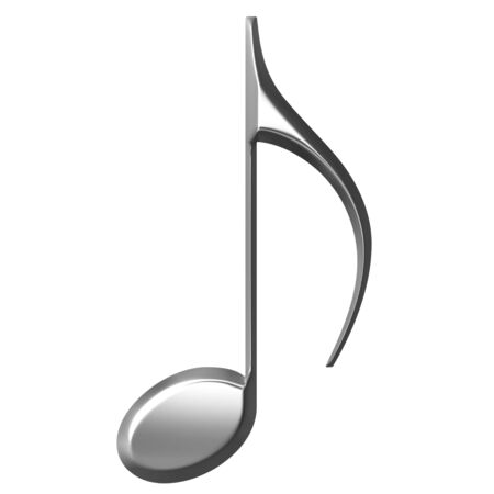 eighth: 3d silver Eighth Note  Stock Photo