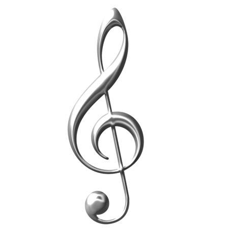 violinschl�ssel: 3D Silber Violinschl�ssel