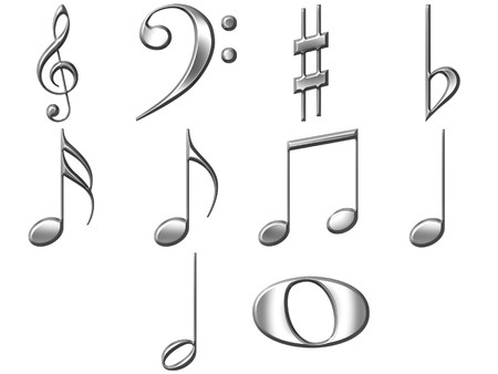 sixteenth note: 3d silver music notes  Stock Photo