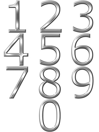 digit 3: 3d silver numbers