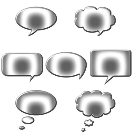 3d silver speech and thought bubbles  photo