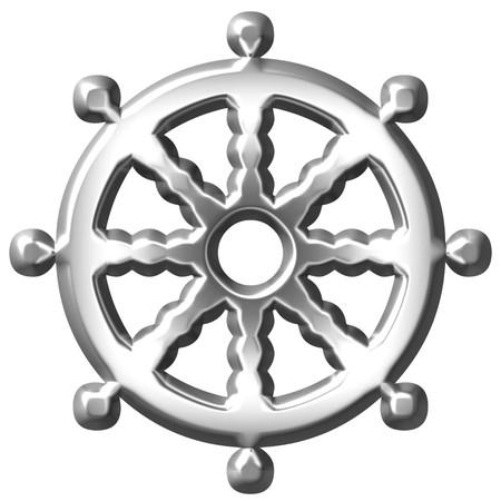 wheel of dharma: 3d silver Buddhism symbol Wheel of Dharma