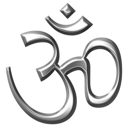 ohm symbol: 3d silver Hinduism symbol