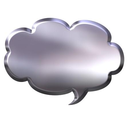 3d silver speech bubble  photo