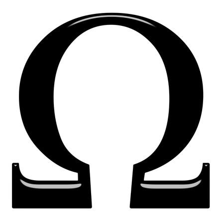 alphabet greek: 3d Greek letter Omega isolated in white