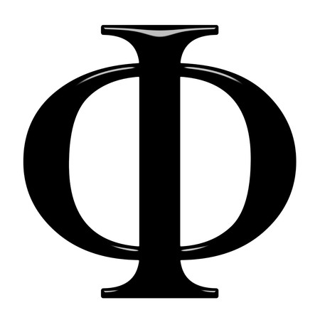 3d Greek letter Phi isolated in white photo