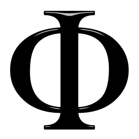 alphabet greek: 3d Greek letter Phi isolated in white