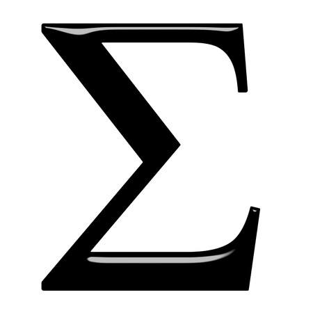 sigma: 3d Greek letter Sigma isolated in white