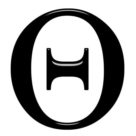 alphabet greek symbols: 3d Greek letter Theta isolated in white