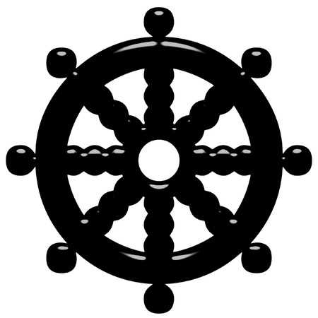 3d Buddhism symbol Wheel of Dharma  Stock Photo - 7404053