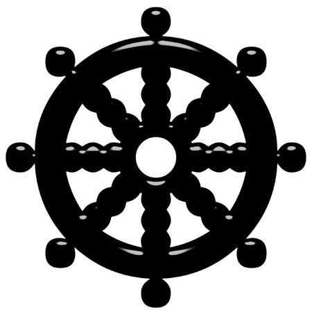 wheel of dharma: 3d Buddhism symbol Wheel of Dharma