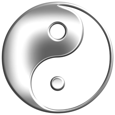 yin yang symbol: 3d silver Tao symbol Stock Photo