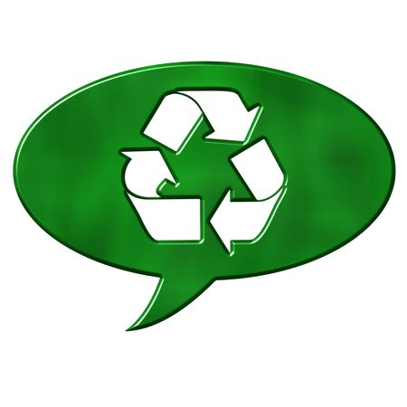 environmental awareness: Recycling speech bubble sign