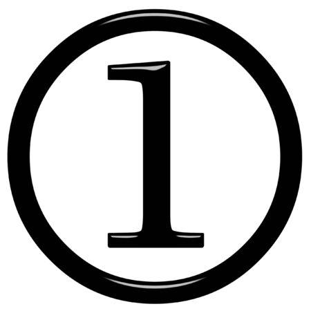 num�rico: 3D enmarcado n�mero 1