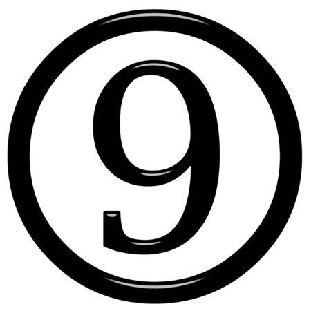 framed: 3d framed number 9