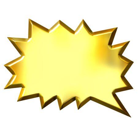 cartooning: 3d golden shout bubble  Stock Photo