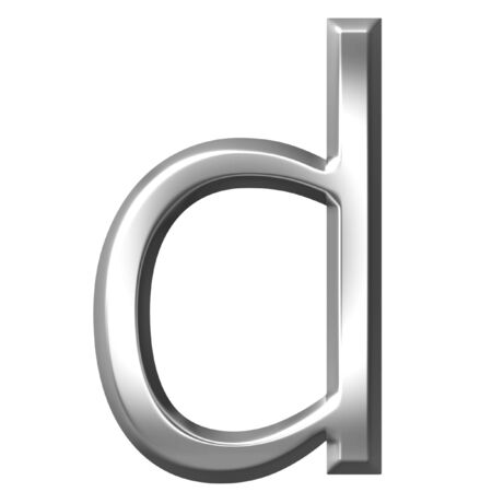 3d silver letter d isolated in white Stock Photo - 7433184