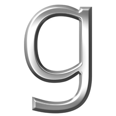 3d silver letter g isolated in white Stock Photo - 7433183